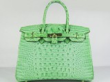 Hermes Birkin bag 30 Green Crocodile Head Skin Gold hardware