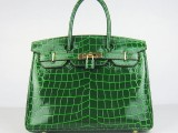 Hermes Birkin bag 30 Green Crocodile Skin Gold hardware