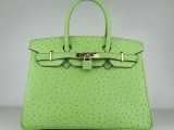 Hermes Birkin bag 30 Green Ostrich Skin Gold hardware