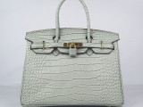 Hermes Birkin bag 30 Gris tourterelle Mouse grey Medium Crocodile Skin Gold hardware