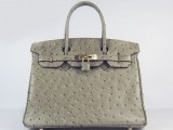 Hermes Birkin bag 30 Gris tourterelle Mouse grey Ostrich Skin Gold hardware