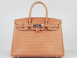 Hermes Birkin bag 30 Orange Crocodile Skin Silver hardware