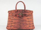 Hermes Birkin bag 30 Orange lezard Skin Gold hardware