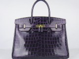 Hermes Birkin bag 30 Raisin Purple Medium Crocodile Skin Gold hardware