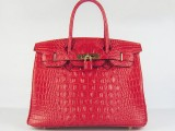 Hermes Birkin bag 30 Red Crocodile Head Gold hardware