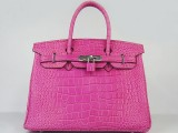 Hermes Birkin bag 30 Rose shocking Hot pink Crocodile Skin Silver hardware