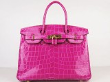 Hermes Birkin bag 30 Rose shocking Hot pink Medium Crocodile Skin Gold hardware