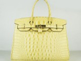 Hermes Birkin bag 30 Soleil Yellow Crocodile Head Skin Gold hardware