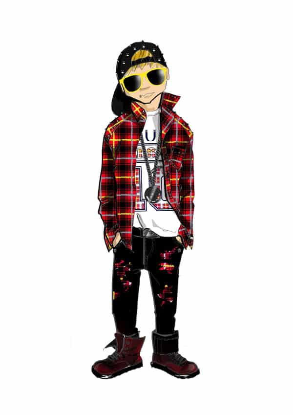Young Versace FW 14_15 grunge red