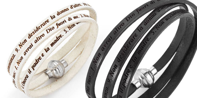 Bracciali AMEN. COME DIO COMANDA. Comandamenti in black & white