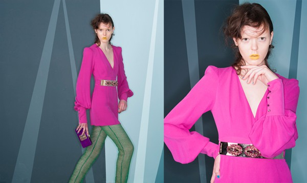 1+1 bis Mini dress con cintura gioiello, PHILIPP PLEIN. Pantalone macramè forato, GIANLUCA CAPANNOLO. Clutch plexi con inserti oro, THALE BLANC.