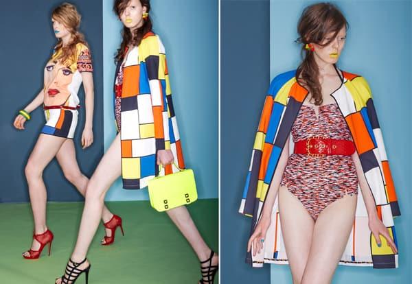 2 + 2bis Cappottino ispirazione Mondrian, EFWARD ACHOUR PARIS. Costume intero in fantasia, FRENCH CONNECTION. Cintura in vernice, CHANEL. Cartella con patella a spuntoni, PHILIPP PLEIN. Sandalo con listini, MARIO VALENTINO. T-Shirt con stampa, paillettes e mini color block, EDWARD ACHOUR PARIS. Bracciali colorati, SHARRA PAGANO. Sandalo di vernice, MARIO VALENTINO.