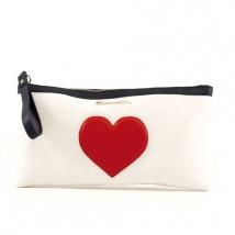 Fiorucci - Pochette con cerniera in ecopelle bianca con cuore rosso. Profili in ecopelle nera. Euro 29,90 circa al pubblico