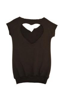 Fiorucci - maglia a mezze maniche in cotone nero con stampa e scollatura a cuore sulla schiena. Euro 69,00 circa al pubblico