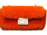 Fendi Mini Shearling Be Baguette orange