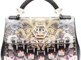PHILIPP PLEIN 11_ Mini bag in saffiano con stampe caleidoscopiche sui toni dell'oro e del viola. Prezzo indicativo al pubblico: € 1.125,00