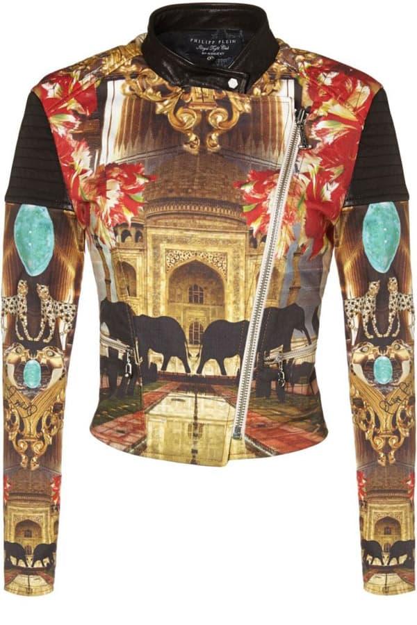 PHILIPP PLEIN 01_Biker Jacket con stampa caleidoscopica all over sui toni del rosso e dell'oro, in pelle. Prezzo indicativo al pubblico Price: € 1.000,00