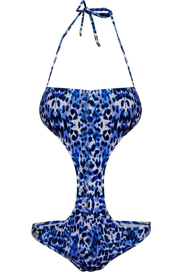 Costume con stampa animalier sui toni del blu, in tessuto tecnico stretch. Prezzo indicativo al pubblico € 230,00