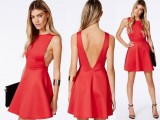 Backless dress - red