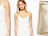 Vestito bianco Asos e pochette Michael Kors