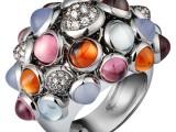 Anello Paris Nouvelle Vague Oro bianco, diamanti, tormaline rosa, calcedoni blu, acquemarine, granati 37.100 euro