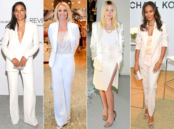 celebrita in abito bianco