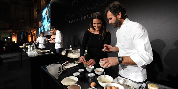 re chef stellati per lo showcooking di Pirelli