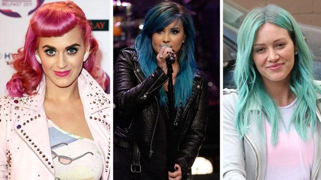 Katy Perry, Demi Lovato e Hilary Duff, i capelli fluo delle star