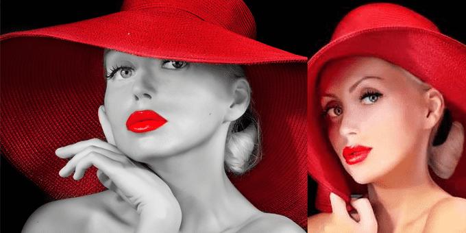 labbra rosso intenso!
