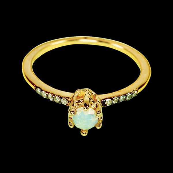 Maniamania Rose-cut opal with gray-and-white- diamond pavé set in 14-karat yellow gold, $1,400