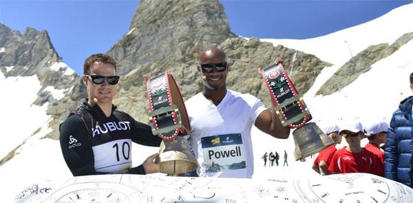 Dario Cologna e Asafa Powell : una sfida sul tetto del mondo