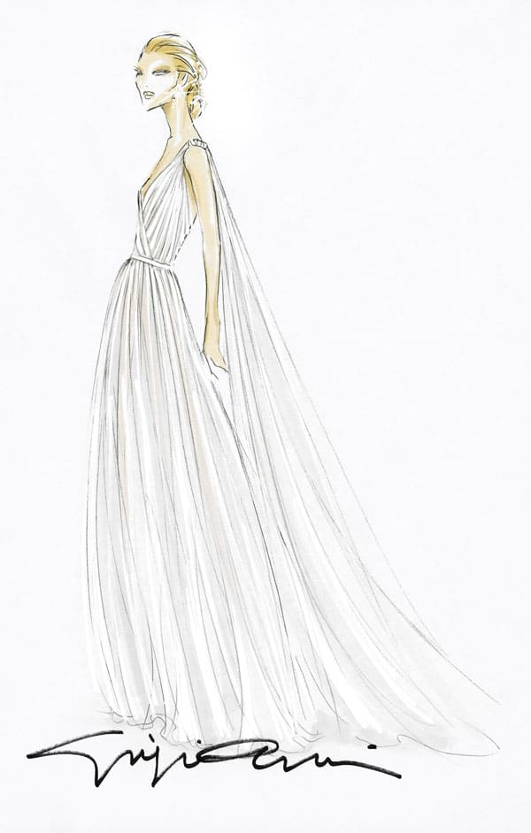 sketch bozzetto del vestito da sposa di Beatrice Borromeo
