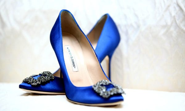 Manolo Blahnik Hangis Jeweled Blue Satin Wedding Shoes