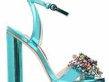 Sophia Webster sandali in-pelle-metallizzata-celeste-con-decorazioni-gioiello