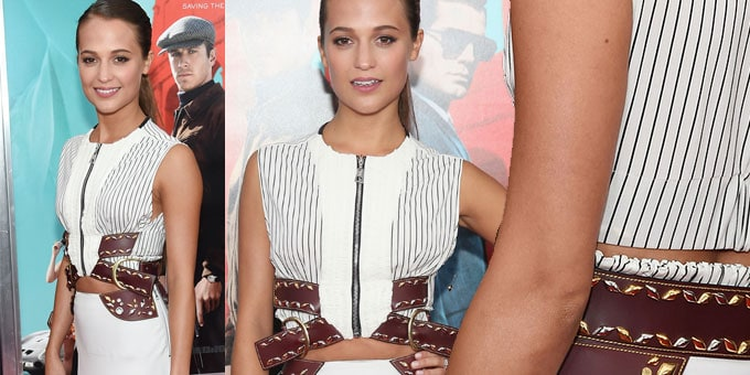 Alicia Vikander veste Louis Vuitton a New York