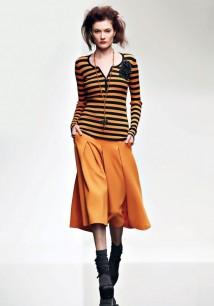 Twin-Set Simona Barbieri autunno/inverno 2015/16 millerighe arancio nere con pantagonna
