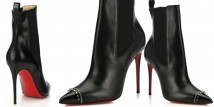 Banjo Spiked Cap-Toe Leather Booties di Christian Louboutin