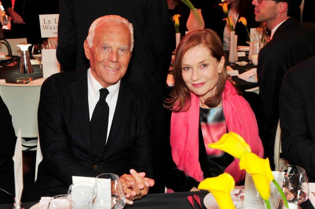 Giorgio Armani and Isabelle Huppert - credit Stephane Feugere