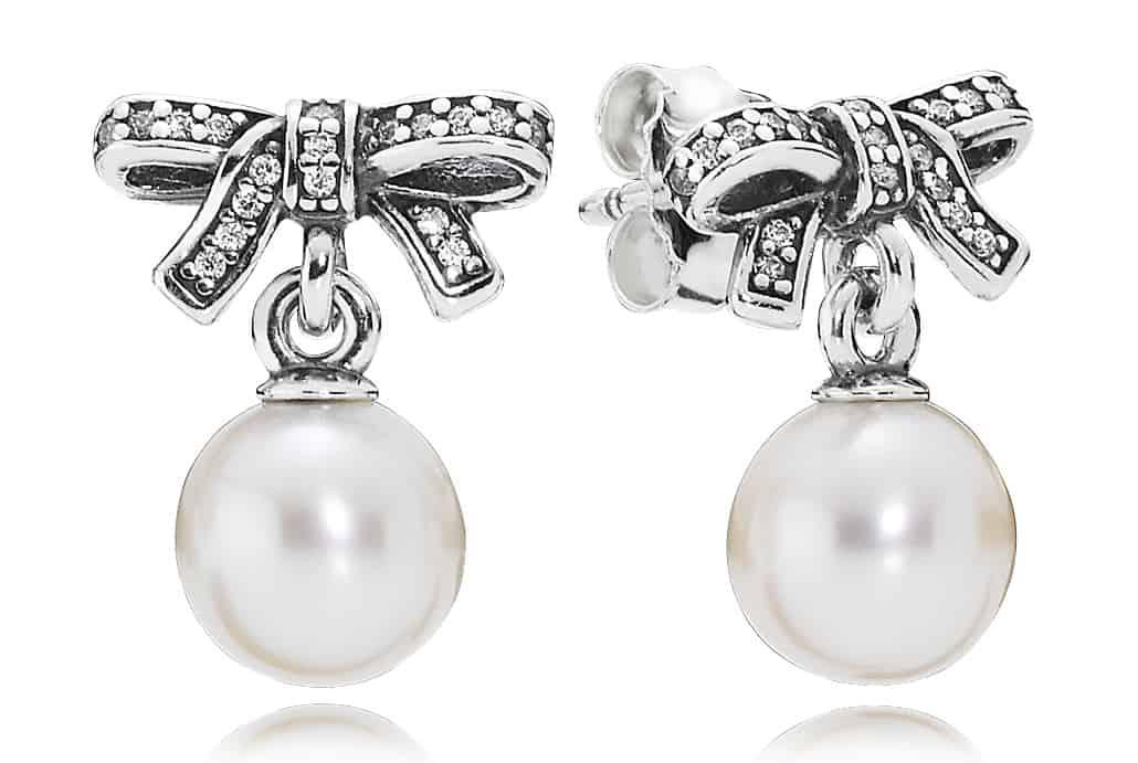 anello pandora con fiocco e perla