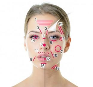 Mappa rughe del viso donna