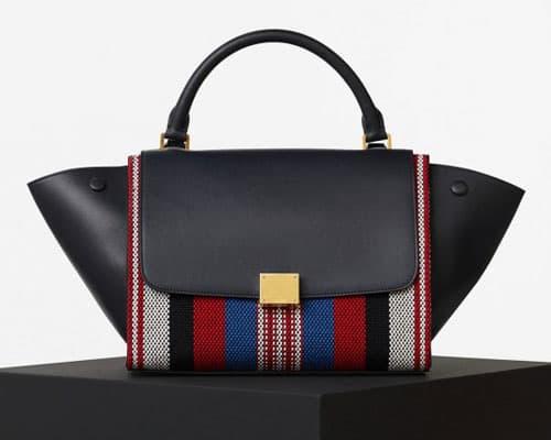 handbag a trapezio con trama a righe
