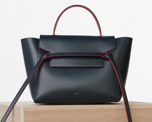 Céline handbag blu navy con profili rossi