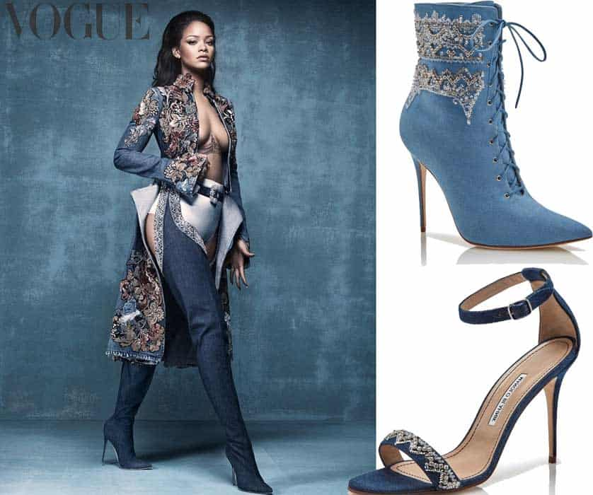 Rihanna e Manolo Blahnik- su Vogue UK