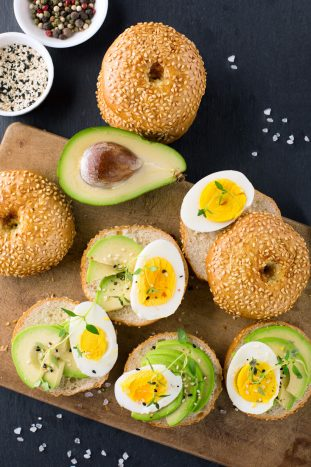 Sandwich with avocado and eggs