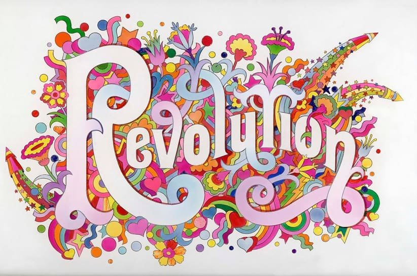 The Beatles illustrated lyrics 'Revolution' 1968 by Alan Aldridge c Iconic Images, Alan Aldridge