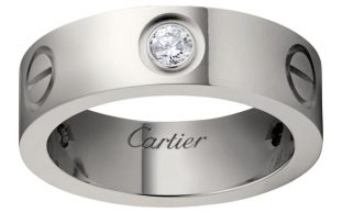 Cartier anello di fidanzamento in platino e diamante