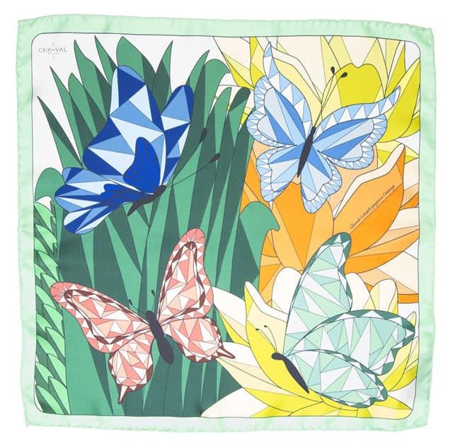 CHA•VAL_Carre 45 _ 70 _ 140 cm - butterflies green