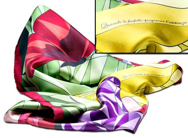 CHA-VAL foulard butterflies red