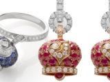 Orecchini campanella piccola in oro rosa e rubini, galletto in oro bianco e diamanti bianchi