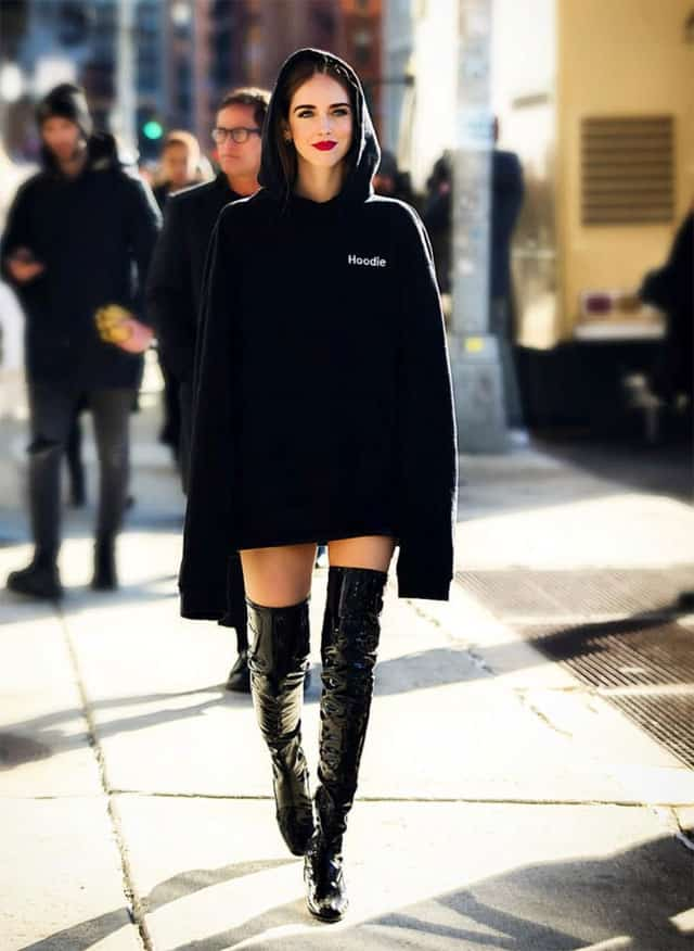 Chiara Ferragni e l'hoodie dress
